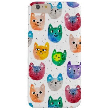 Watercolor cats and friends barely there iPhone 6 plus case