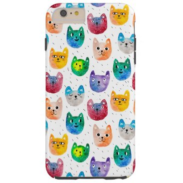 Watercolor cats and friends tough iPhone 6 plus case
