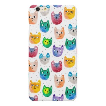 Watercolor cats and friends glossy iPhone 6 plus case
