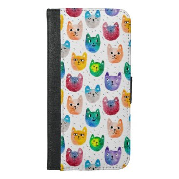 Watercolor cats and friends iPhone 6/6s plus wallet case
