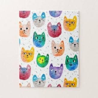Watercolor cats and friends jigsaw puzzle