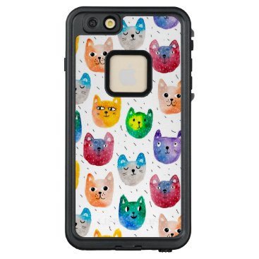 Watercolor cats and friends LifeProof FRĒ iPhone 6/6s plus case