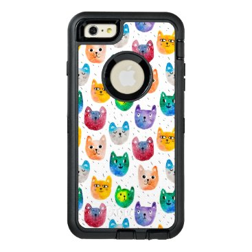 Watercolor cats and friends OtterBox defender iPhone case