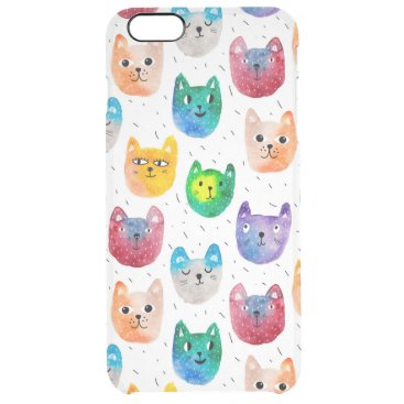Watercolor cats and friends clear iPhone 6 plus case