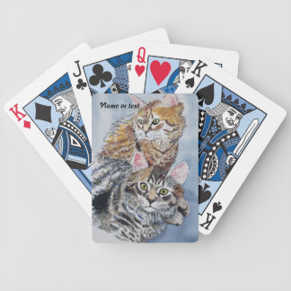 Watercolor Cats Resting Bicycle Playing Cards