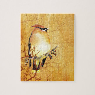 Watercolor Cedar Waxwing Bird Jigsaw Puzzles