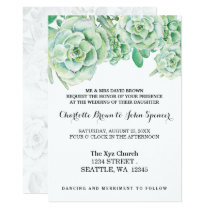 watercolor celadon succulent wedding invitations
