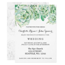 Succulent Roses Wedding Invitations