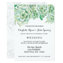 watercolor celadon succulent wedding invitations