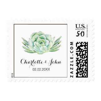 watercolor celadon succulent wedding postage