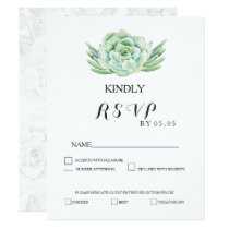 watercolor celadon succulent wedding rsvp card