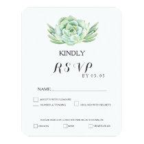 watercolor celadon succulent wedding rsvp card