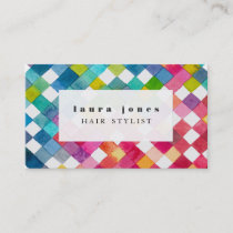 Watercolor Checker Pattern Hair Stylist Template Business Card