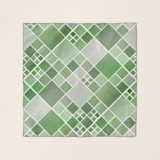 Watercolor Checkered Green Pattern Chiffon Scarf
