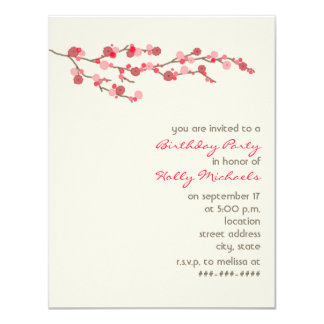 """Watercolor Cherry Blossom Birthday Party Invite 4.25"""" X 5.5"""" Invitation Card"""
