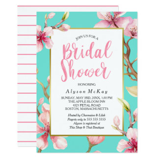 Watercolor Cherry Blossom Bridal Shower Card