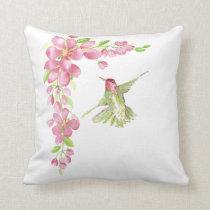 Watercolor Cherry Blossom & Hummingbird Throw Pillow
