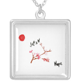 WaterColor Cherry Blossom Japan-Hope Square Pendant Necklace