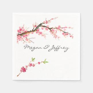 Watercolor Cherry Blossom Paper Napkin