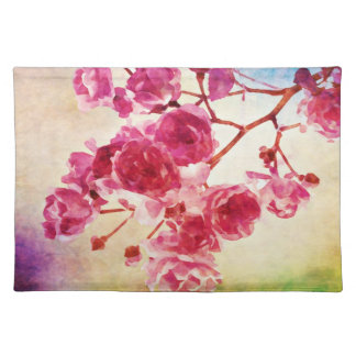 Watercolor cherry blossom placemats cloth placemat