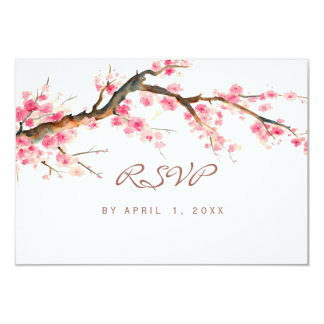 Watercolor cherry blossom rsvp card