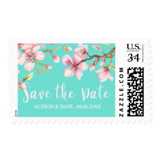 Watercolor Cherry Blossom Save the Date Postage