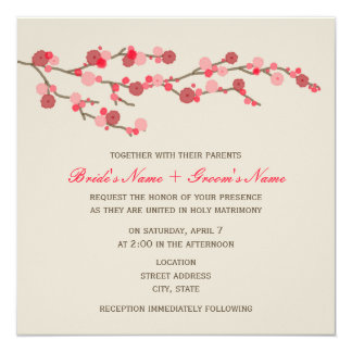 Watercolor Cherry Blossom Wedding Invite