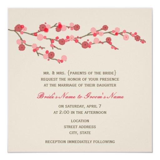 Watercolor Cherry Blossom Wedding Invite