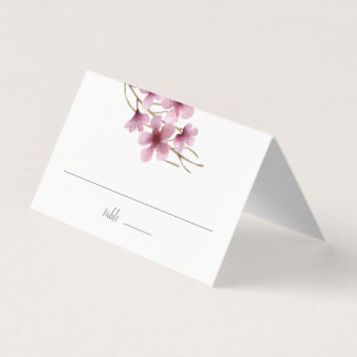 Watercolor Cherry Blossom Wedding Place Card