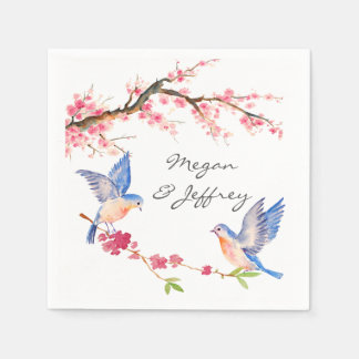 Watercolor Cherry Blossom with BlueBirds Paper Napkin