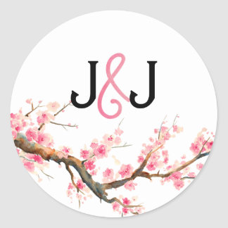 Watercolor Cherry Blossoms Circle Stickers