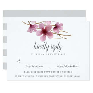 Watercolor Cherry Blossoms Meal Choice RSVP Card