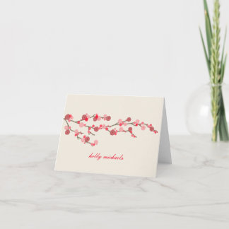Watercolor Cherry Blossoms Personalized Notecards