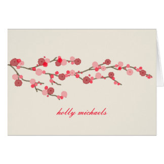 Watercolor Cherry Blossoms Personalized Notecards Greeting Card