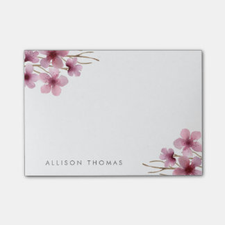 Watercolor Cherry Blossoms Personalized Post-it Notes