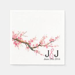 Watercolor Cherry Blossoms Wedding Custom Napkins