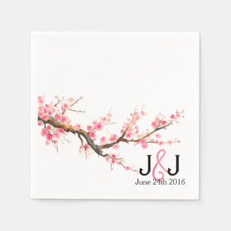 Watercolor Cherry Blossoms Wedding Custom Napkins