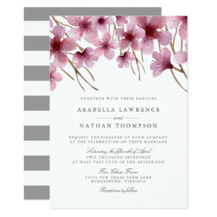 Good Watercolor Cherry Blossoms Wedding Invitation