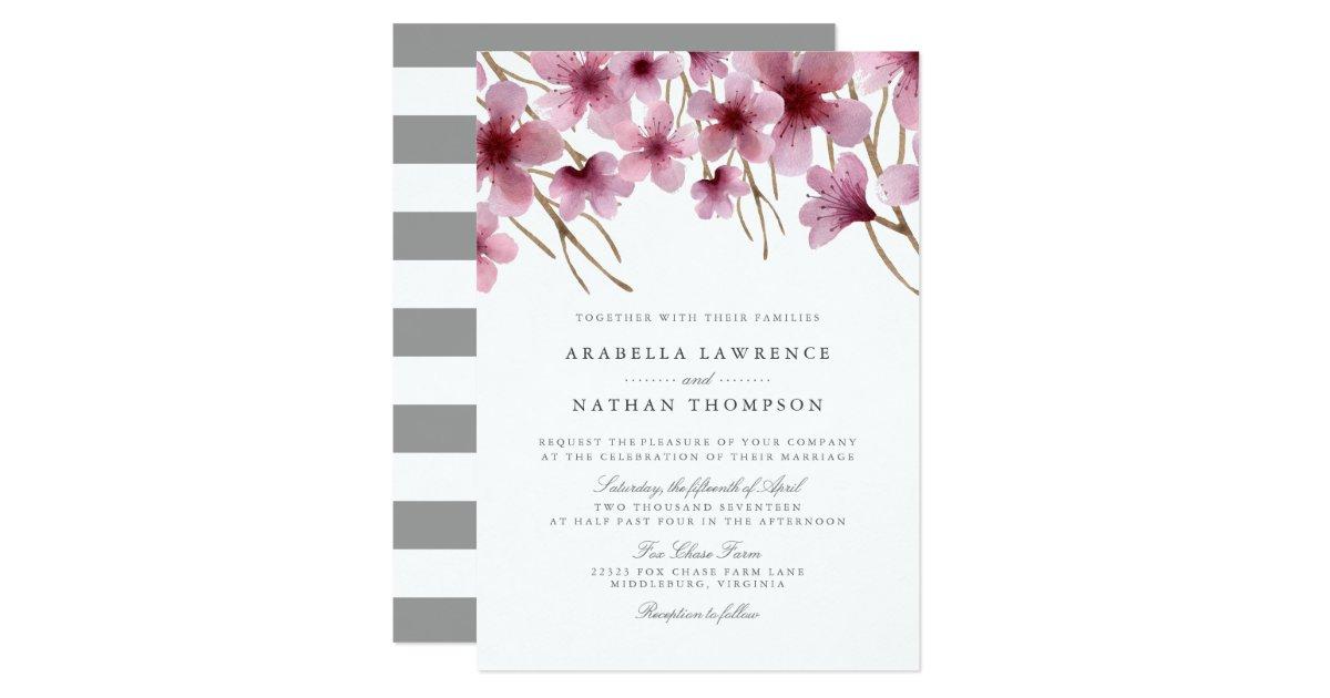 Watercolor Cherry Blossoms Wedding Invitation | Zazzle.com