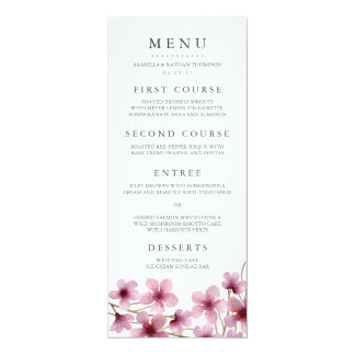Watercolor Cherry Blossoms Wedding Menu Card
