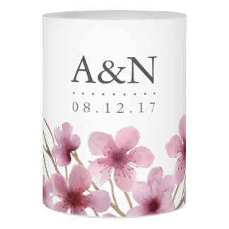 Watercolor Cherry Blossoms Wedding Monogram Flameless Candle
