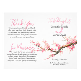 Watercolor Cherry Blossoms Wedding Program