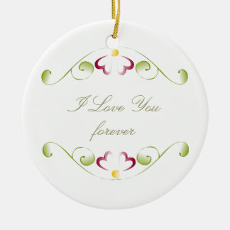 Watercolor Cherry Red Blooms Ceramic Ornament