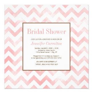 Watercolor Chevron Bridal Shower Invitation pink