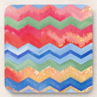 Watercolor Chevron Happiness Drink Coaster
