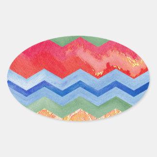 Watercolor Chevron Happiness Oval Sticker
