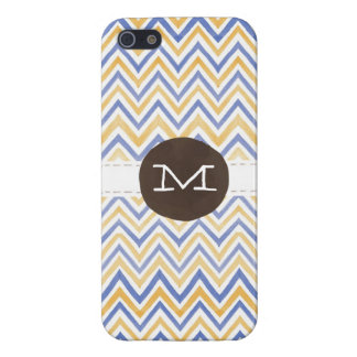 Watercolor Chevron Navy Mustard Monogram Covers For iPhone 5
