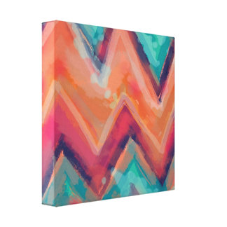 Watercolor Chevron Orange Pink and Teal Canvas Print