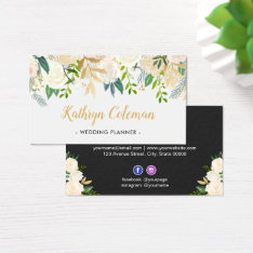 Watercolor Chic Cream Floral Wedding Event Planner Business Card at Zazzle