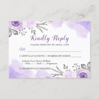 Watercolor Chic Pastel Purple Floral Wedding RSVP